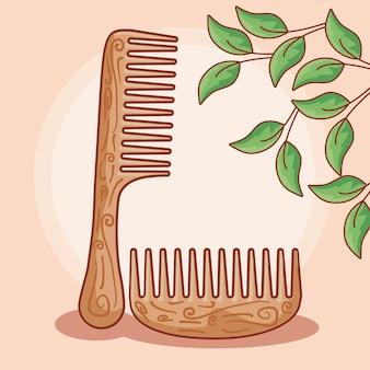 Conjunto de pentes de cabelo de madeira com folhas