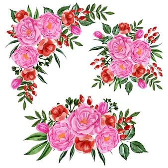 Conjunto de peônias rosa e arranjo de flores vermelhas