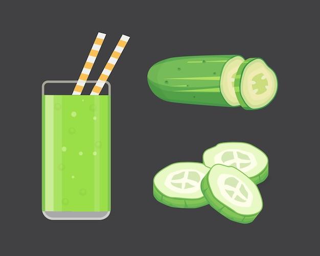Conjunto de pepino fresco fatiado e isolado ilustração verde smoothie