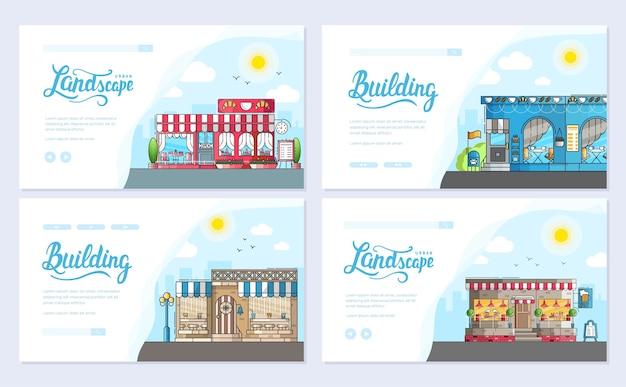 Conjunto de pequenas casas de café fofas e exteriores de edifícios de café. conceito moderno de layout.