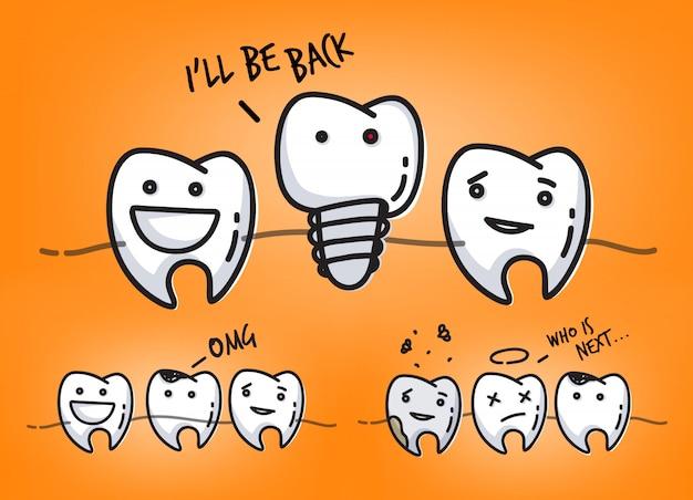 Conjunto de pequenas cenas de personagens de dentes em quadrinhos, desenho em fundo laranja suculento.