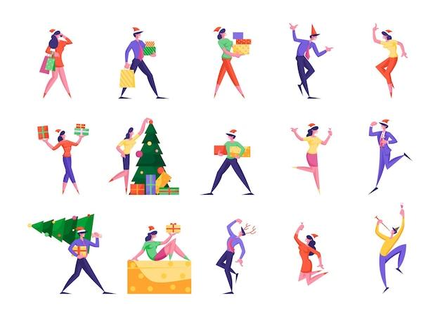 Conjunto de pequenas pessoas fofas e felizes comemorando o ano novo e os feriados de natal