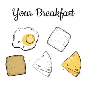 Conjunto de pequeno-almoço.
