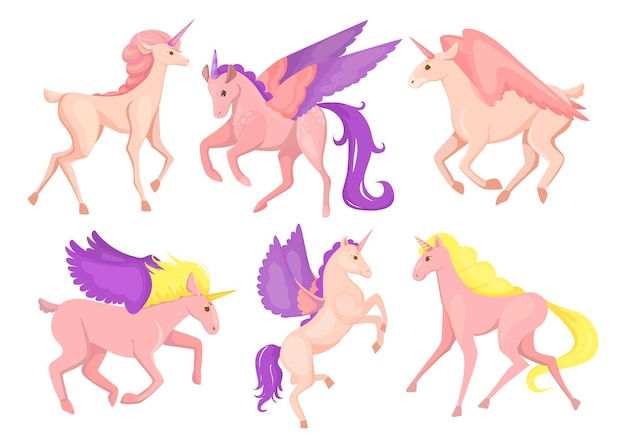 Conjunto de pequeno pégaso rosa fofo. ilustração de desenho animado