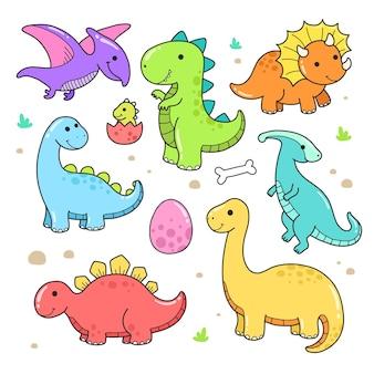 Conjunto de pequeno vetor de dinossauro fofo