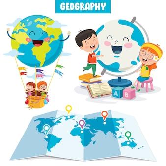 Conjunto de pequenos estudantes estudando geografia
