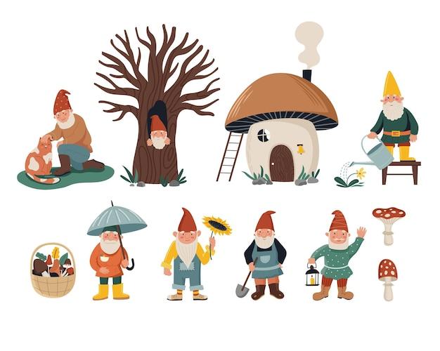 Conjunto de pequenos gnomos. personagem anão com gato, regador, pá, girassol. casa de cogumelo fofa