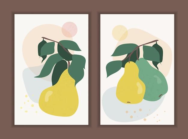 Conjunto de peras em um galho com folhas