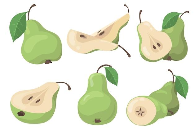 Conjunto de peras frescas