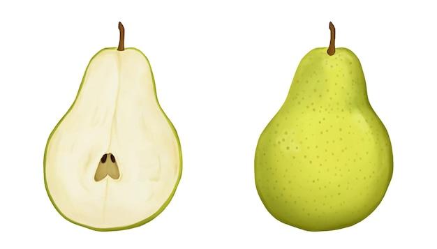 Conjunto de peras verdes maduras isoladas em branco