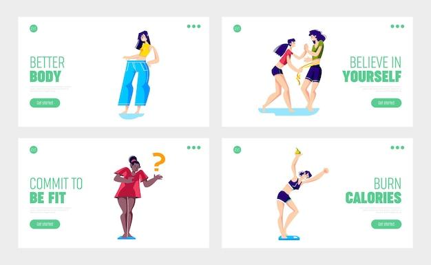 Conjunto de perda de peso com personagens femininas elegantes e felizes após a perda de peso