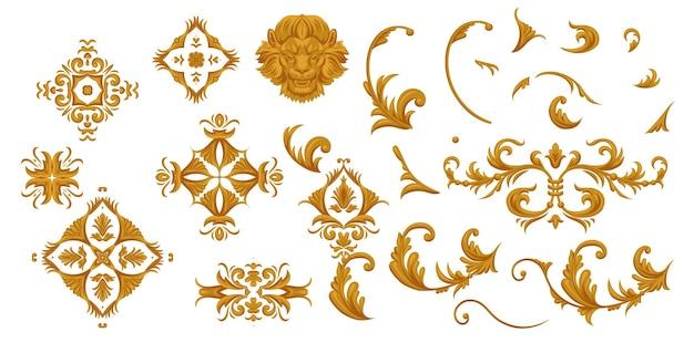 Conjunto de pergaminhos dourados, arabescos e cabeça de leão