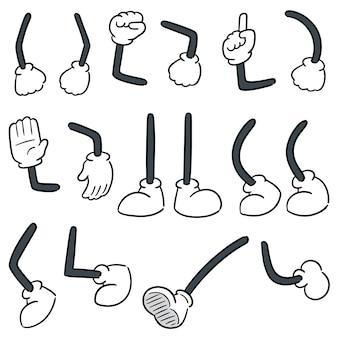 Conjunto de perna de cartoon e braço dos desenhos animados
