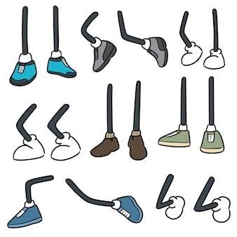 Conjunto de perna de desenho animado