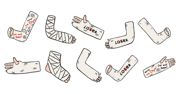 Conjunto de pernas, braços e mãos quebrados lançando rabiscos com textos engraçados