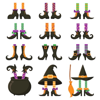 Conjunto de pernas de bruxa assustadora