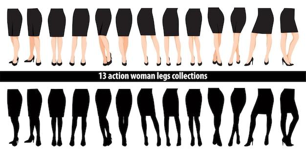 Conjunto de pernas de mulher com sapatos de salto alto e personagem de desenho animado de saia preta