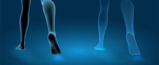 Conjunto de pernas femininas 3d, passo confiante isolado sobre fundo azul