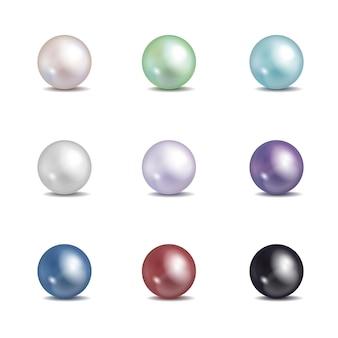 Conjunto de pérolas multicoloridas