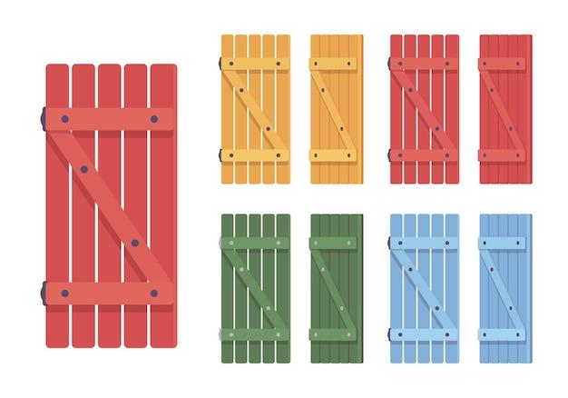 Conjunto de persianas de madeira. design de casa de campo rústica brilhante e segurança doméstica, elemento de arquitetura de proteção de casa. ilustração em vetor estilo simples dos desenhos animados isolada, fundo branco, diferentes visualizações e cores