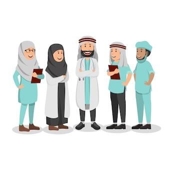 Conjunto de personagem árabe médico cartoon ilustração
