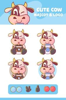 Conjunto de personagem bonito de vaca, leite e café com abordagem opcional. kawaii premium