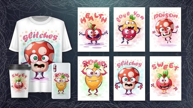 Conjunto de personagem bonito desenho para cartaz e merchandising