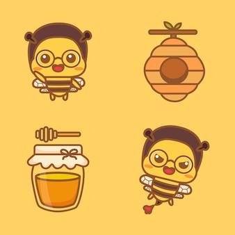 Conjunto de personagem de abelha bonito com colmeia e mel. ilustração em vetor dos desenhos animados