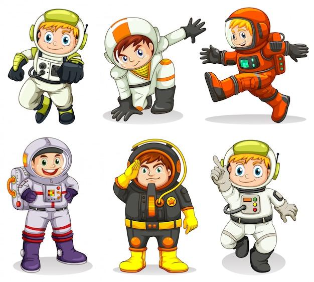 Conjunto de personagem de astronauta