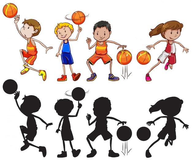 Conjunto de personagem de atleta de basquete