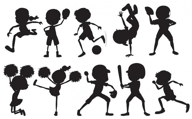 Conjunto de personagem de atleta de esporte de silhueta