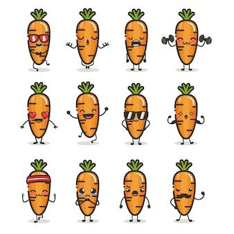 Conjunto de personagem de cenoura bonita em emoção de ação diferente