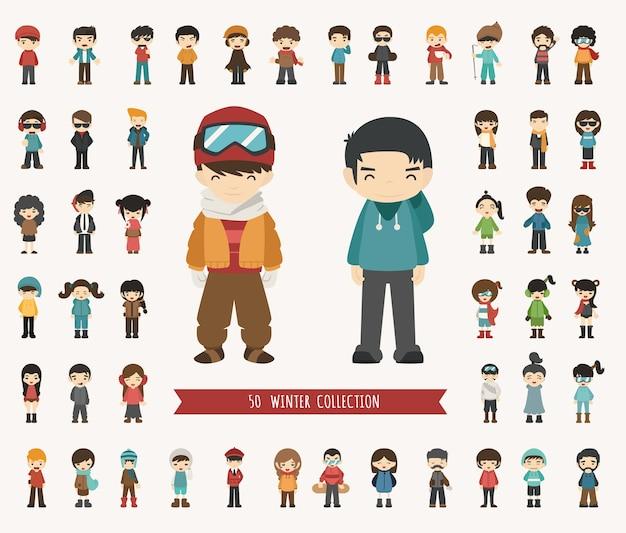 Conjunto de personagem de coleção de inverno
