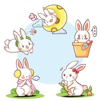 Conjunto de personagem de desenho animado coelho fofo