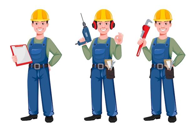 Conjunto de personagem de desenho animado construtor