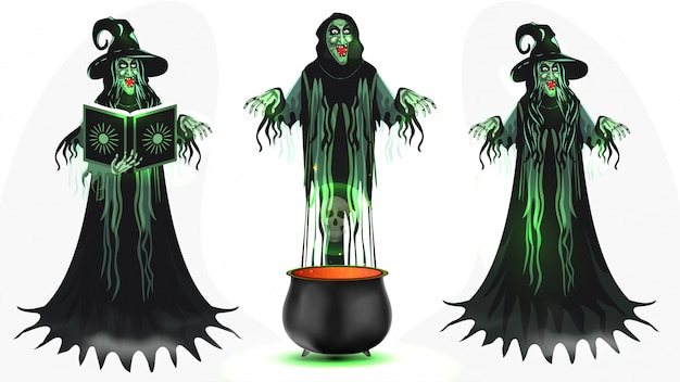 Conjunto de personagem de desenho animado de bruxa com livro mágico e caldeirão em branco.