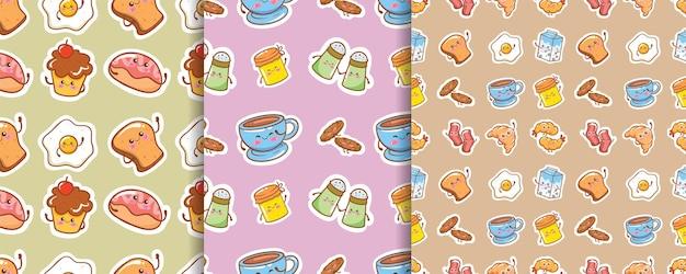 Conjunto de personagem de desenho animado de café da manhã fofo padrão sem emenda