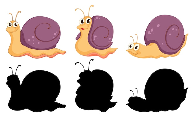Conjunto de personagem de desenho animado de caracol e sua silhueta em fundo branco