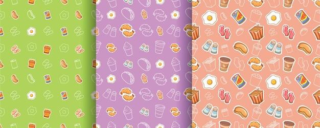 Conjunto de personagem de desenho animado de comida e bebida de padrão sem emenda