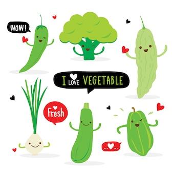 Conjunto de personagem de desenho animado de cor verde vegetal. pimentão, brócolis, cabaço amargo, cebolinha, abobrinha e mamão. ilustração