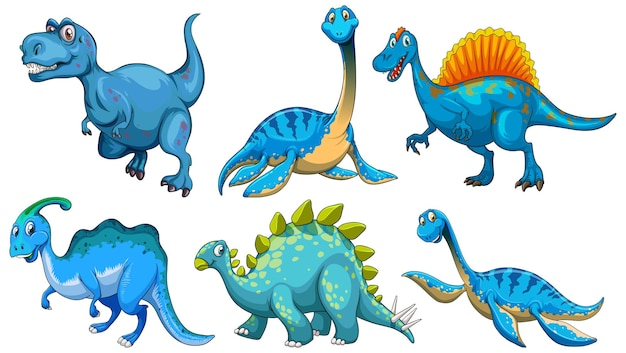 Conjunto de personagem de desenho animado de dinossauro azul
