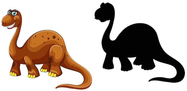 Conjunto de personagem de desenho animado de dinossauro e sua silhueta em branco