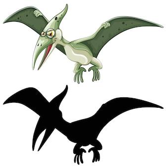 Conjunto de personagem de desenho animado de dinossauro e sua silhueta