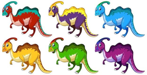Conjunto de personagem de desenho animado de dinossauro parasaurus