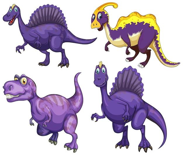 Conjunto de personagem de desenho animado de dinossauro roxo