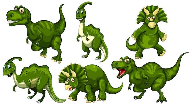 Conjunto de personagem de desenho animado de dinossauro verde