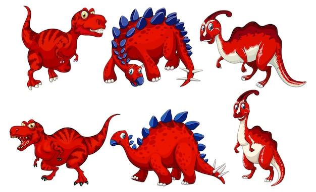 Conjunto de personagem de desenho animado de dinossauro vermelho