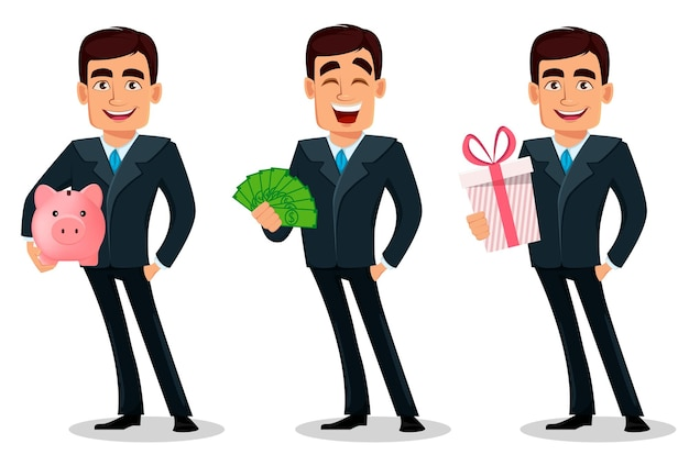 Conjunto de personagem de desenho animado de empresário em traje formal