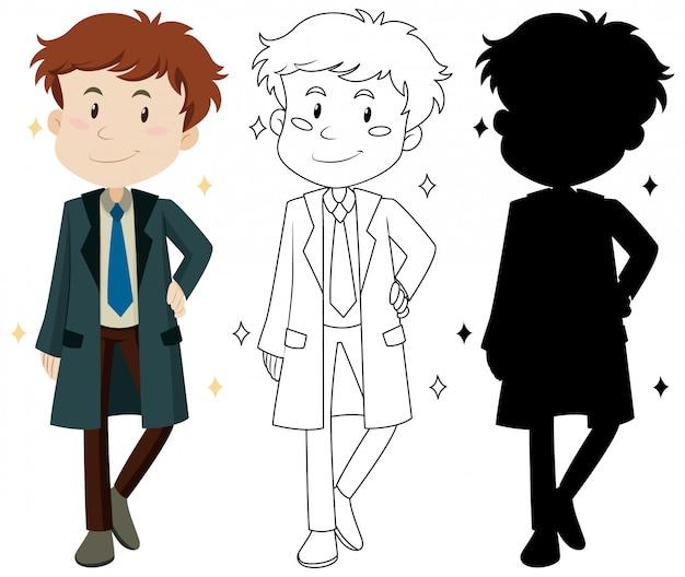 Conjunto de personagem de desenho animado de homem bonito