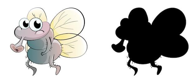 Conjunto de personagem de desenho animado de inseto e sua silhueta em fundo branco